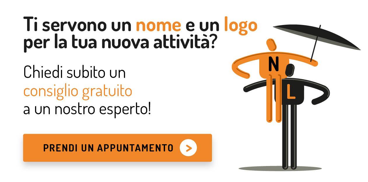 Ti servono un nome e un logo per la tua nuova attività? Chiedi subito un consiglio gratuito ad un nostro esperto.